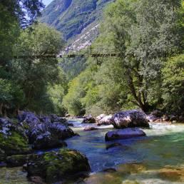 Die Aussicht über das Soča Tal Aussicht entlang des Wanderwegs in Slowenien
