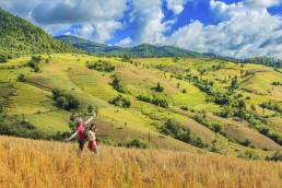 Ein Reisfeld in Chiang Mai mit zwei Besuchern die während der Nebensaison reisen